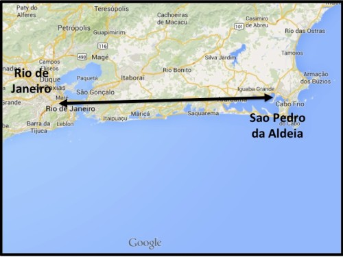 Sao Pedro da Aldeia is less than 100 miles (160 Kilometers) from Rio de Janeiro.  Ricardo and I took the bus from downtown Rio to the Rodoviária (bus station in Portuguese).  The ride was a little over 2 hours.
