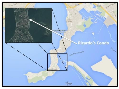 Ricardo's condo, where I stayed in San Pedro da Aldeia, is about half way down the peninsula.