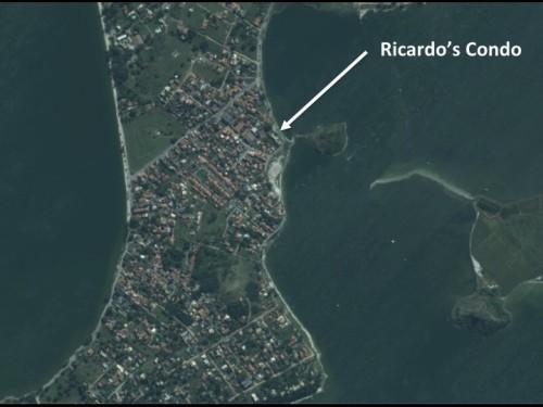 Ricardo's condo has a view  of Lagoa de Araruama to the east and the southeast off his balcony.