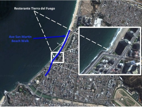 Tierra del Fuego is shown in the Vina del Mar city map, and the enlarged portion.  My afternoon / evening walk is shown by the blue line.  It took me about the beach, and Ave San Martin.