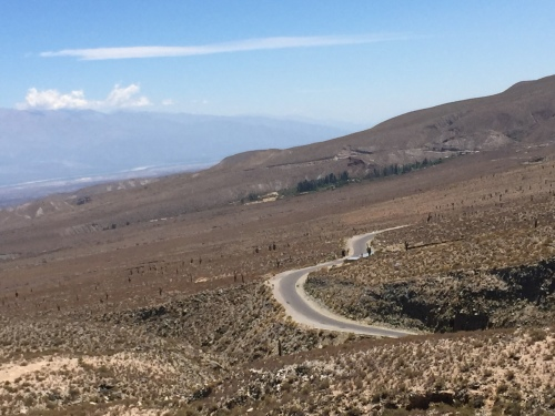 The winding road down into the Amaicha Valley (home of the Quilmes).