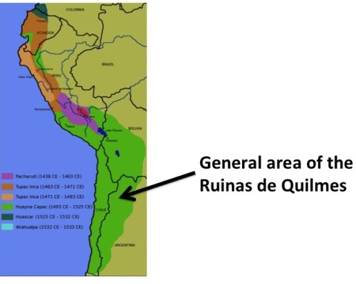 Inca territory can be seen in this map.  The general area where the Quilmes resided is also shown.