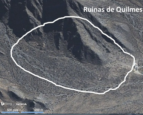 Most of the Ruinas de los Quilmes are shown inside the circled area.  This view is courtesy of Google Maps.  I circled the general area of the ruins.