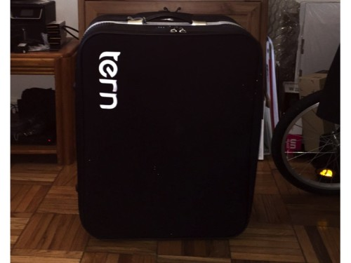 My Tern Airporter with my Brompton H6L safely packed inside.