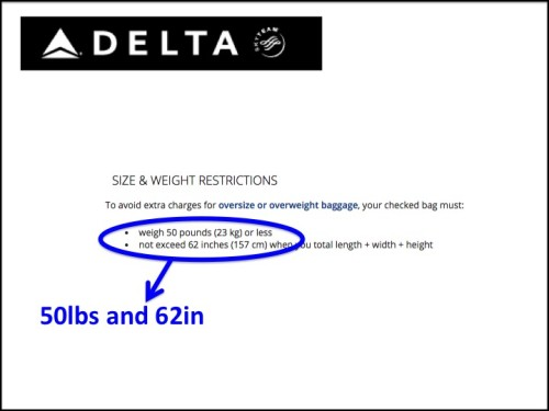 Delta Airlines checked bag policy Click on the photo to see the Delta ...